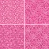 Set of valentine hearts seamless patterns Royalty Free Stock Photo