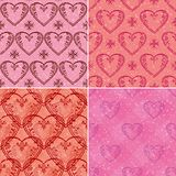Set of valentine hearts seamless patterns Royalty Free Stock Photography