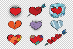 Set of Valentine hearts on a transparent background Stock Image