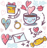 Set of valentine icons Stock Photos