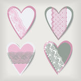 Set valentine  lace hearts Stock Photos