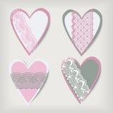 Set valentine  lace hearts Stock Photos