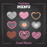 Set of valentine love hearts. Chalk drawing Royalty Free Stock Images