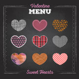 Set of valentine love hearts. Chalk drawing Royalty Free Stock Photos