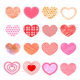 Set of valentine love hearts. Royalty Free Stock Photos