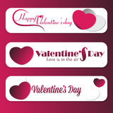 Set of 3 Valentine Message banner ads. With hearts Stock Photo