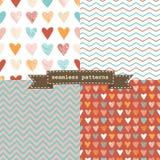 Set of valentine patterns Stock Images