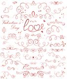 Set of valentine ribbons. Set of valentine red ribbons Stock Image