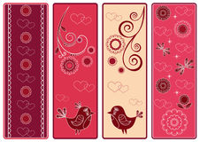 Set Valentine's banners with birds. Stock Photo