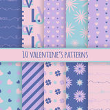 Set of 10 valentine's cute patterns. Vector seamless backgrounds for your design royalty free illustration