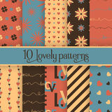 Set of 10 valentine's cute patterns Stock Images