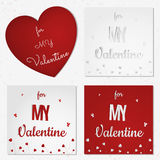 A set of Valentine's day abstract cards or background with cut paper hearts, flowers, butterfly. Stock Images