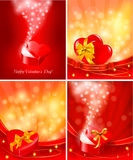 Set of Valentine`s day backgrounds with open gift  Stock Photography