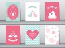 Set of Valentine`s day card on retro pattern design,love,animal,cute ,Vector illustrations vector illustration