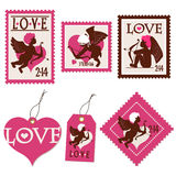 Set of Valentine's day cupid stamps and tags Royalty Free Stock Photo