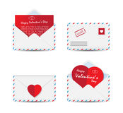 Set of Valentine's Day envelopes with paper red hearts  on white background Royalty Free Stock Photography