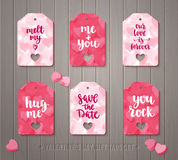 Set of Valentine`s day gift tags Royalty Free Stock Photography