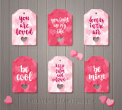 Set of Valentine`s day gift tags Stock Photo