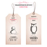 Set of Valentine's day gift tags Stock Photography