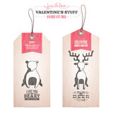 Set of Valentine's day gift tags Stock Images