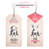 Set of Valentine's day gift tags Royalty Free Stock Photography