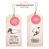 Set of Valentine's day gift tags. Vintage Valentine's day gift tags Stock Photography