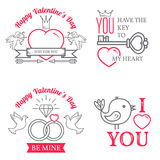 Set of Valentine`s Day greetings card. Royalty Free Stock Photography