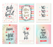 Set of Valentine`s Day hand drawn greeting Royalty Free Stock Image