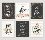 Set of Valentine`s Day hand drawn greetings Stock Photos