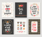 Set of Valentine`s Day hand drawn greetings Stock Image