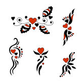 Set for Valentine`s Day. Hearts decorated with twisted patterns. Royalty Free Stock Photography
