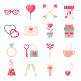 Set of Valentine's day icons elements collection Royalty Free Stock Photography