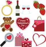 Set of Valentine`s Day Icons. A set of romantic and colorful Valentine`s Day vector Icons Stock Photo