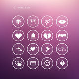 Set valentines day mobile icons, love on the Internet symbols Stock Image