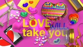 3d rendering of fancy Valentines card inscription love will take you stock illustration