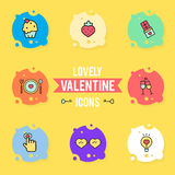 Set of valentine`s day objects and icon Royalty Free Stock Photography