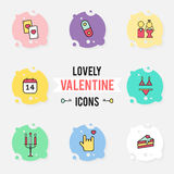 Set of valentine`s day objects and icon. Stock Images