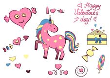Set of Valentine s day elements isolated on white background. Vector illustration. Unicorn, heart, letter, arrow, candy vector illustration