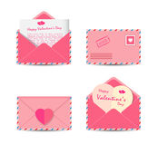Set of Valentine's Day pink envelopes with pink paper hearts  on white background. Vector illustration Royalty Free Stock Image