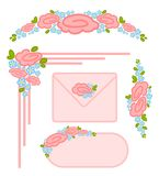 Set of valentine`s day postage stamps Stock Image