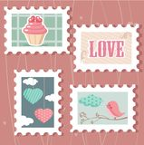 Set of valentine`s day postage stamps. Illustration Stock Photo