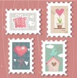 Set of valentine`s day postage stamps. Illustration Stock Image