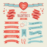 The Set of Valentines Day Ribbons Royalty Free Stock Images