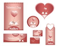 Set Valentine`s day -sales, birds, heart- flyer, poster, banner, card, label. Illustration with two enamored cute birds with heart-shaped balloon. full set Stock Image