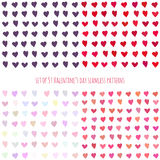 Set of Valentine's day seamless patterns with hearts Stock Photo
