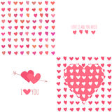 Set of Valentine's day seamless patterns with Royalty Free Stock Photos