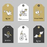 Set with Valentine`s Day tags. stock illustration