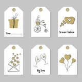 Set with Valentine`s Day tags. Vector illustration Stock Photos