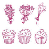 Set on valentine's day, vector. Set on valentine's day: bouquets, flowers, muffins, cupcakes, daisies and roses Stock Photos
