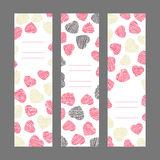 Set of Valentine's Day vertical banners. Pink hearts ornament. V Royalty Free Stock Photography